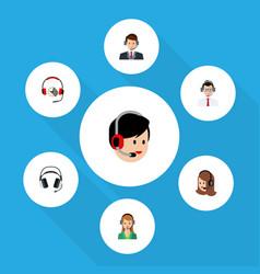 Flat call set of service earphone secretary and vector