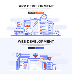 Flat design concept banner - app development and vector