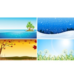 Four view of different seasons vector