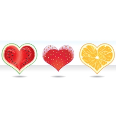 fruit heart icons set vector image