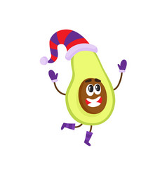 Funny avocado character in winter hat and mittens vector