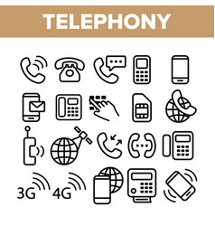 global telephony system linear icons set vector image