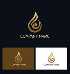 gold water drop abstract logo vector image