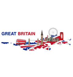 great britain with landmarks and icons england vector image