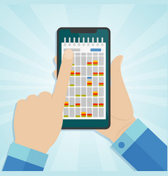 hand holding smartphone with calendar on a screen vector image