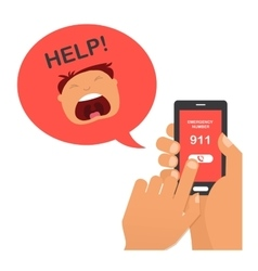 hand press emergency number 911 on a mobile phone vector image