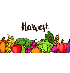 Harvest festival banner autumn with vector