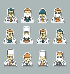 Icons doctors face medical items and drugs vector image