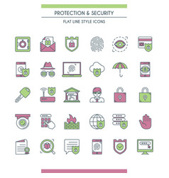 icons set on theme security vector image