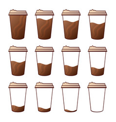 isolated set 12 paper cups for coffee with a vector image