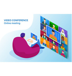 isometric video conference online meeting work vector image