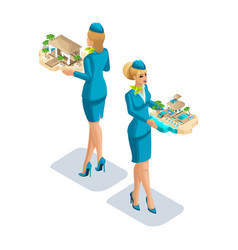 Isometry of a stewardess girl with leisure vector