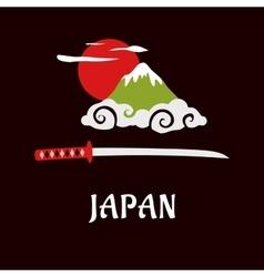 Japan Fuji mountain and samurai sword vector image