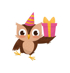 lovely little owlet wearing party hat holding gift vector image