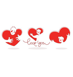 man and heart collection love concept vector image