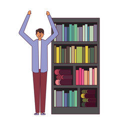 man with bookshelf books literature vector image