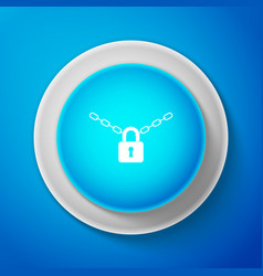 metal chain and lock icon isolated on blue vector image
