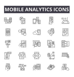 mobile analytics concept line icons signs vector image