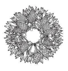 Monochrome Christmas wreath vector image