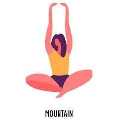 Mountain pose yoga position or asana sport or vector