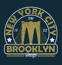 new york brooklyn bridge grunge print vector image