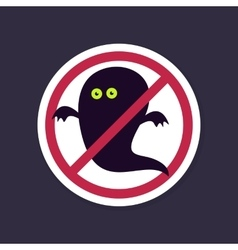 No Ban or Stop signs Halloween Ghost icon vector image
