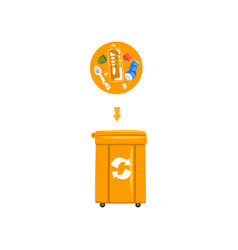 orange trash garbage can with sorted garbage vector image