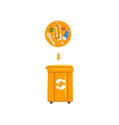 orange trash garbage can with sorted garbage vector image