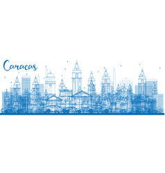 Outline caracas skyline with blue buildings vector