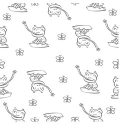 Pattern with frog hand draw vector