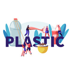 people characters using plastic things concept vector image