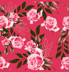 pink rose and simple leaves vector image