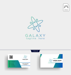 planet line art logo template and business card vector image