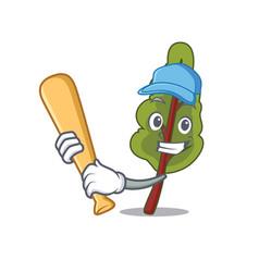 Playing baseball chard character cartoon style vector