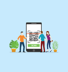 qrcode technology scan with office team people vector image