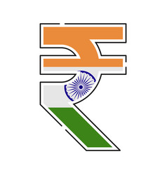 Rupee currency symbol indian rupee with a flag vector