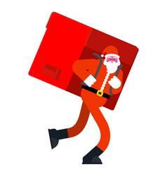santa claus and big red bag many gifts huge vector image