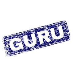 Scratched guru framed rounded rectangle stamp vector