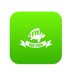 sea fish icon green vector image
