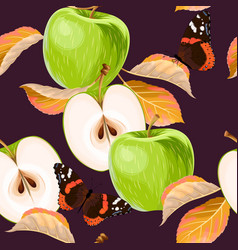 seamless pattern with green apples and leaves vector image