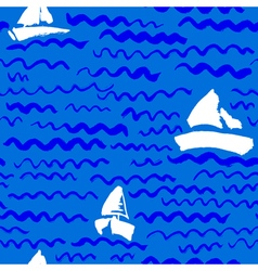 seamless pattern with waves and ship vector image