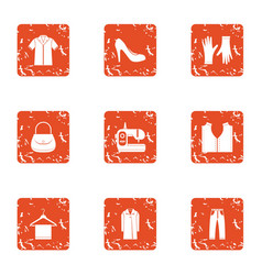 Seamstress icons set grunge style vector
