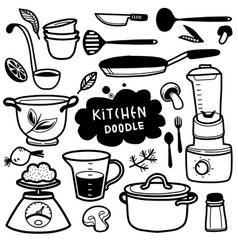 Set kitchen utensil doodle vector