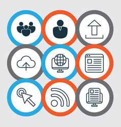 set of 9 world wide web icons includes cursor tap vector image