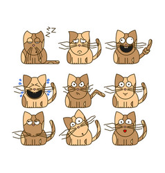 Set of cat emoticons vector