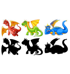 set of dragon character vector image