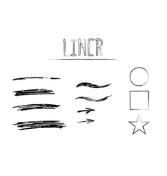 Set of Hand Drawn Doodle Sketchy Grunge Liner vector image