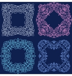 Set of mono line flourish vintage frame vector