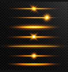 shining line set golden realistic lens flare set vector image