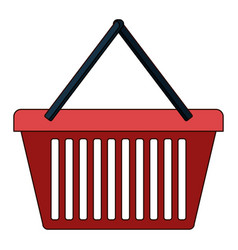 shopping basket icon in colorful silhouette with vector image